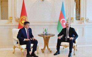 Azərbaycan Prezidenti İlham Əliyevin Qırğızıstan Prezidenti ilə görüşü olub - FOTO